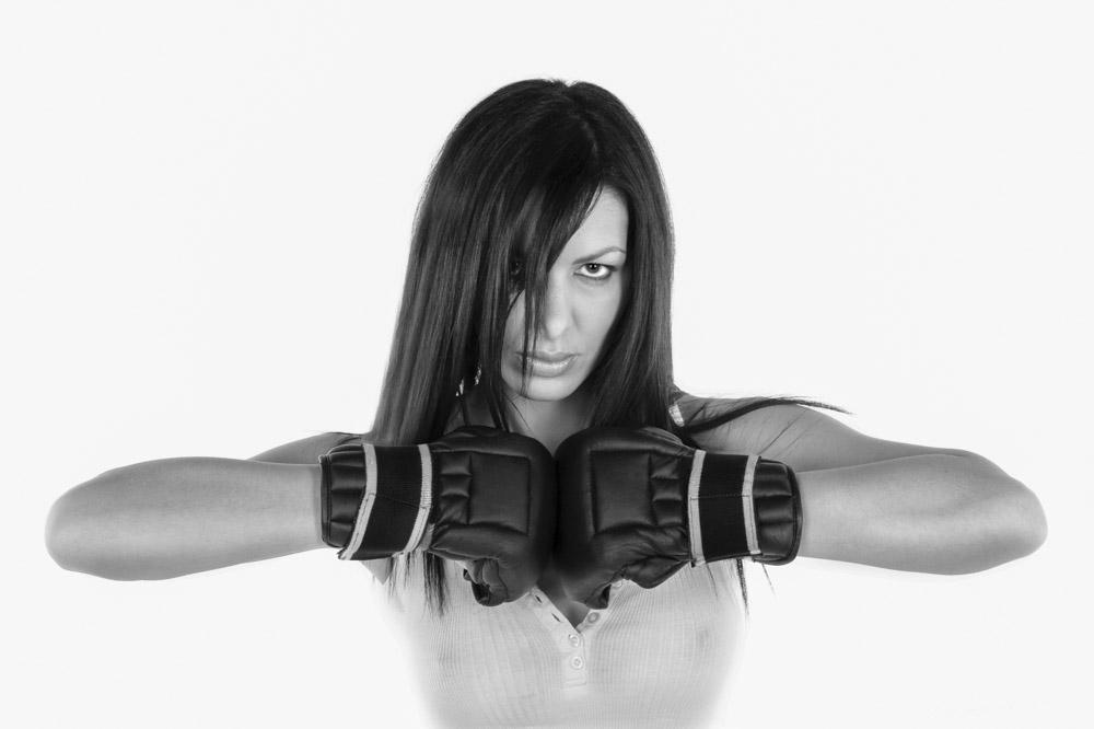 Ritratti,studio, donna,guantoni, puglato, boxe