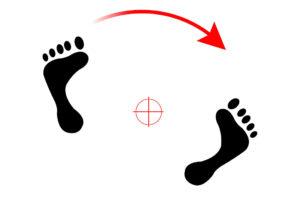 Panning: posizione dei piedi ipotizzando un inseguimento di un soggetto che si muove parallelamente verso destra